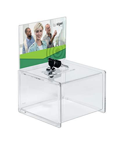 SIGEL VA151 Urna promozioni / per votazioni, con serratura, con porta-inserti per A6 orizzontale, trasparente, acrilico