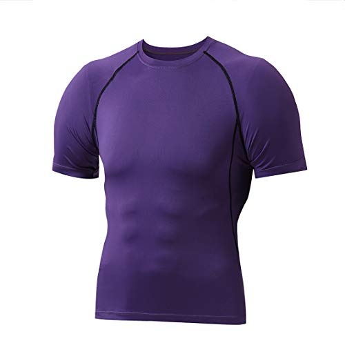 Men's Cool Dry Workout Compression Fitness Short Sleeve Sports Running Base Layer T-Shirts Tops (XXX-Large, Purple)