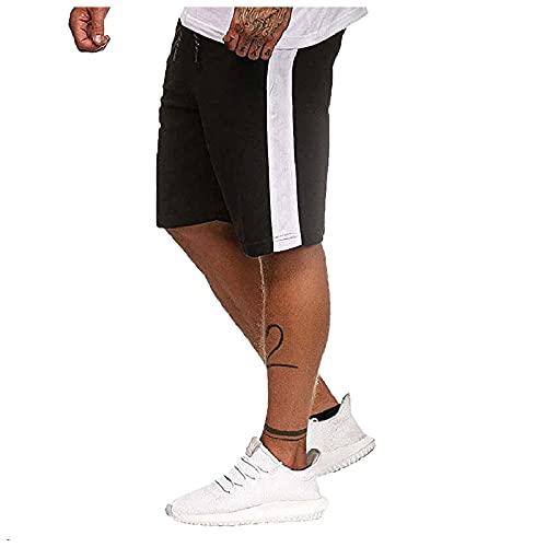 Pantalones Cortos Deportivos para Hombres Verano Bermuda Sweatpant Pantalon Pijama Corto Salón Fitness Bolsillos Running Shorts Casuales con cordón de Color sólido de Verano para Hombre