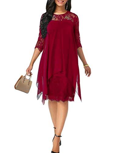 Minetom Elegante Abendkleider Cocktailkleider Damenkleider Brautjungfernkleider Aus Spitzen Knielange Rockabilly Ballkleid Rund Ausschnitt Rot 40