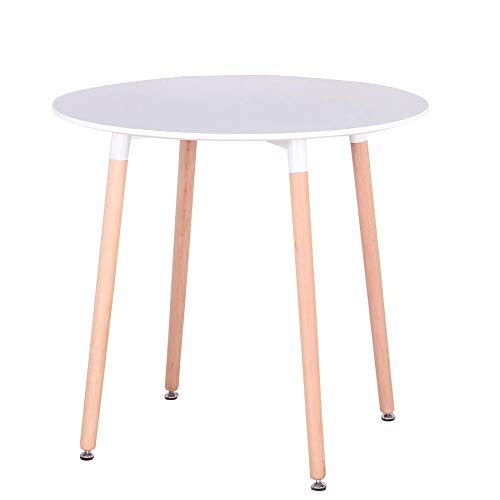 GrandCA Mesa de Comedor, Mesa de Cocina Redonda Blanca nórdica Moderna con Patas de Madera de Haya para la Oficina del Comedor (Blanca 01)
