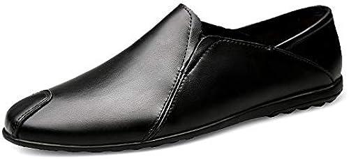 Easy Go Shopping Herren Loafers Wolle Runde Kopf Oxford Schuhe Casual Flache Bambus Schuhe Leder SlipÃlederschuhe,Grille Schuhe