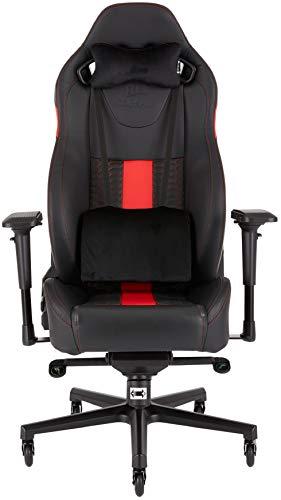 Corsair T2 Road Warrior - Fauteuil Gaming de bureau en similicuir, montage facile, ergonomique, hauteur réglable et accoudoirs 4D, siège large et confortable avec dossier inclinable - Noir/Rouge