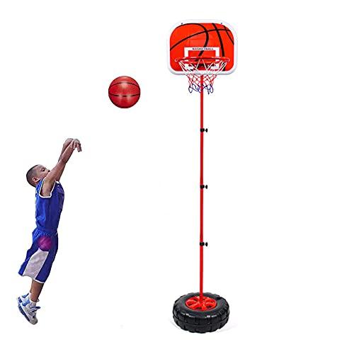 Portátil Canasta Baloncesto, 1,5 m Juego de Baloncesto para niños Soporte de Baloncesto con Soporte Altura Ajustable para niños,Red
