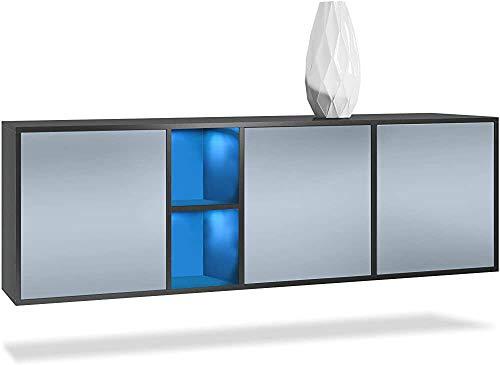 Moderne Lebensmittel hängenden Seitenschrank mit drei Türen und dem hinteren Fach des Regals, Mahlzeit Beistellschrank Schubladen,D-With LED light