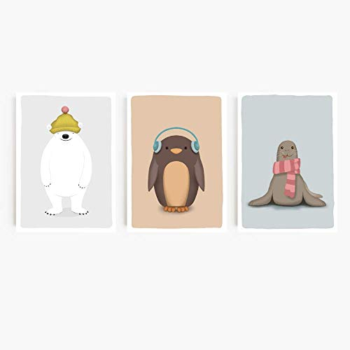 SARIERA® Juego de 3 láminas 'ANIMALES DEL POLO NORTE Y SUR' para habitación infantil – decoración para bebés, niñas, niños – Cuadros de pared A4– estilo nórdico–sin marco