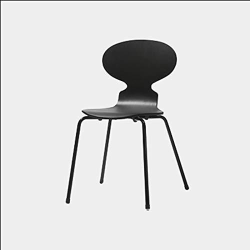 Einfacher Ameisen-Stuhl-beiläufiger speisender Stuhl kurvte das hölzerne Sitzeisen-Bein, das für Restaurant/Büro/Zähler/Familie verwendbar ist (Color : Black, Size : 53 * 54 * 78.5cm)