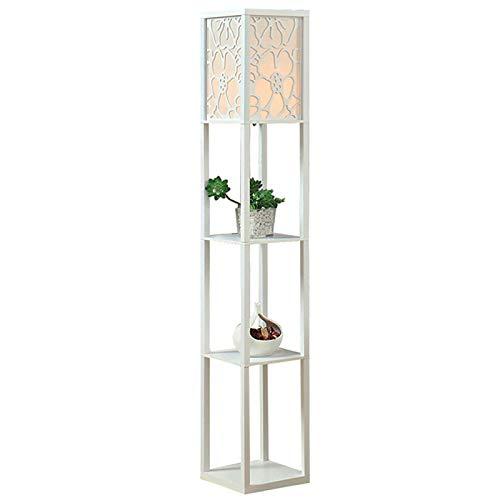 Lámpara de pie de madera para iluminación interior para dormitorio y sala de estar (sin bombilla) (blanco)