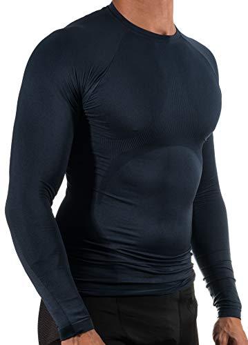 13MW Camiseta Térmica Profesional   Hombre   Tejido Reforzado   Transpirable (Azul Marino, XL-XXL)
