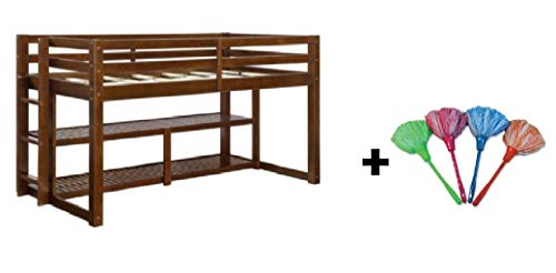 Better Homes and Gardens Loft Storage Bed with Spacious Storage Shelves, Multiple Finishes, Twin, Mocha + Free