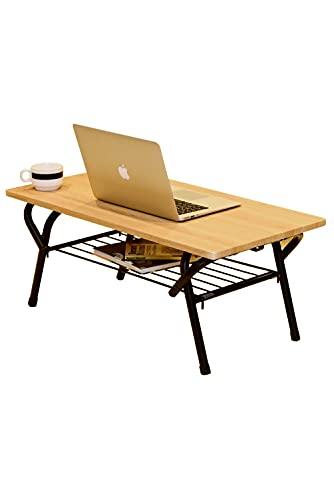 [山善] ローテーブル (折りたたみ) 棚付き (着脱かんたん) ミニテーブル 机 完成品 幅80×奥行40×高さ32cm 一人暮らし ヴィンテージ オーク/サンドブラック FTLT-8040(OAKSBK) テレワーク