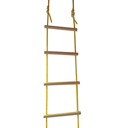 Strickleiter Kletterleiter, Holzsprossen, TÜV/GS geprüft, für Indoor und Outdoor, für Kinder und Erwachsene, belastbar bis 80 kg, 2,7 m