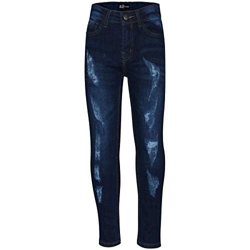 A2Z 4 Kids® Jungen Dehnbar Jeans Kinder Designer - Boys Jeans Ripped Dark Blue 9-10