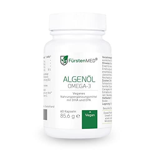 FürstenMED® Algenöl Omega 3 Vegan Kapseln Hochdosiert mit 720mg EPA & 480mg DHA pro Tagesdosis + Vitamin E - Laborgeprüft & Hergestellt in Deutschland