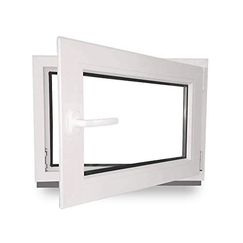 Kellerfenster - Kunststoff - Fenster - innen weiß/außen weiß - BxH: 80 x 60 cm - 800 x 600 mm - DIN Rechts - 2 fach Verglasung - 60 mm Profil