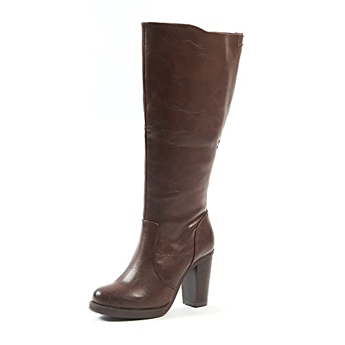 XL laarzen met hoge hak voor brede kuiten, model Kamilla, donkerbruin, 37 EU