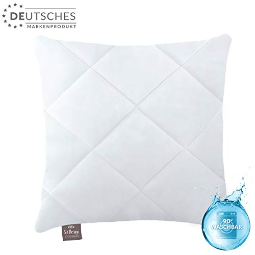 sei Design Hochwertiges Kopfkissen Kissen Classic 50 x 50 cm | Kochfest | Gesteppt | Mikrofaser