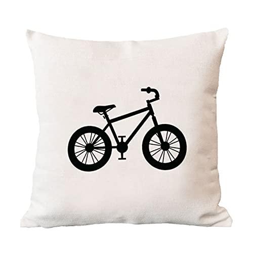 DKISEE Funda de almohada cuadrada para bicicleta de montaña, funda de almohada de lino y algodón, funda de cojín para sofá, silla, decoración del hogar, 45,72 x 45,72 cm