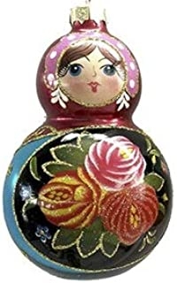 On Holiday Matryoshka Red and Blue Russian Doll Christmas Tree Ornament