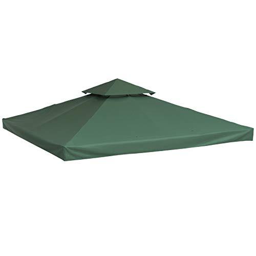 Outsunny Ersatzdach Pavillondach für Metallpavillon Gartenpavillon Partyzelt Gartenzelt Polyester 3x3m Grün