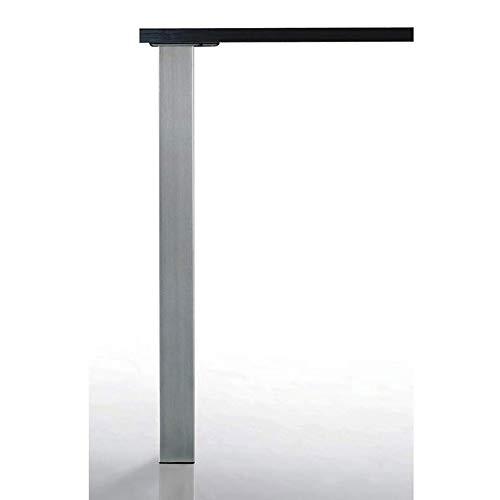 Pied de table quadra 80 x 80 mm - Décor : Inox brossé - Hauteur : 700 mm - CAMAR