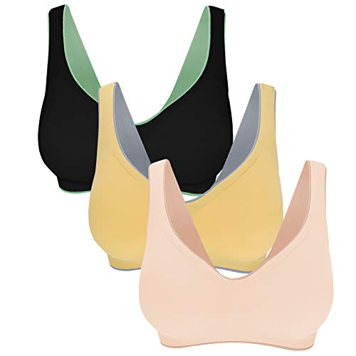 Eleplus Seamless T Shirt Bras Wireless Smooth Bras Back Closure Bras with Removable Pads Pack (6622-mix1, Small)