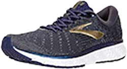 blue tan and white running shoes for men