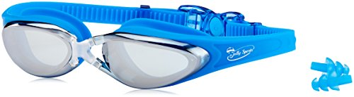 JollySports Swim Goggles with Anti Fog, Best for Adult Men, Women and Older Kids - Nose Clip, Ear Plugs and Case Include