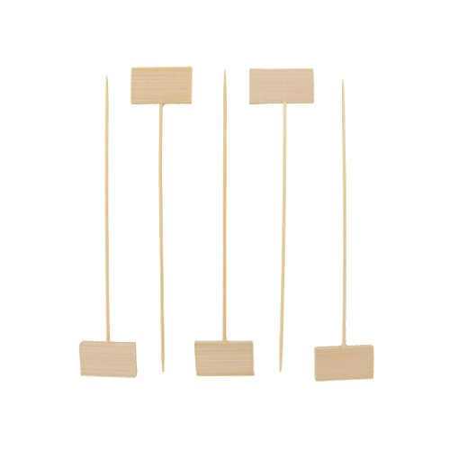 """BambooMN 5"""" Decorative Bamboo Small Billboard Cocktail Hors' D'oeuvres Pick Skewer for Events, Restaurants, or Home Party Supplies, 1000 Pieces"""