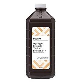 Amazon Brand - Solimo Hydrogen Peroxide Topical Solution USP, 32 Fl Oz 12 <p>32-fluid ounce bottle of first aid antiseptic First aid to help prevent risk of infection from minor cuts, scrapes and burns Active ingredient: 3% hydrogen peroxide (stabilized) If you like Swan Hydrogen Peroxide, we invite you to try Solimo 3% Hydrogen Peroxide First Aid Antiseptic Satisfaction Guarantee: We're proud of our products. If you aren't satisfied, we'll refund you for any reason within a year of purchase. 1-877-485-0385 An Amazon brand</p>