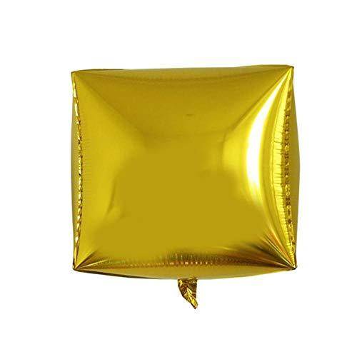 SELLA Palloncino Foil cubo 3D da 24 Pollici Quadrato Decorazioni per Compleanni di Nozze Articoli per Feste Palloncini ad Aria in Pellicola di Alluminio Multicolor, Oro