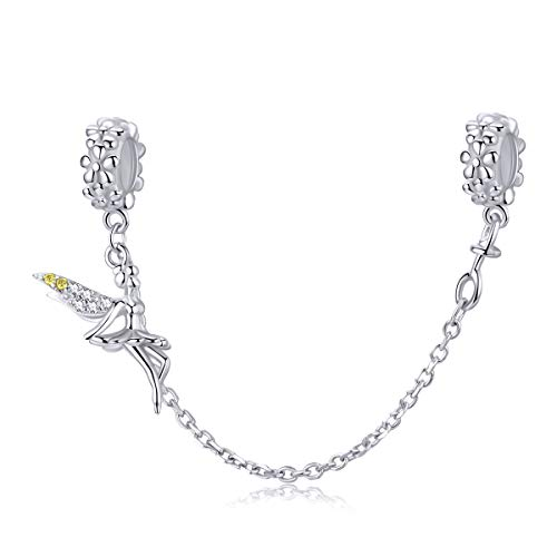 925 Sterling Silver Beads Safety Chain Stopper Charms For Pandora Women's European Style Snake Chain Bracelet Jewelry (Flower Elf Safety Chain)