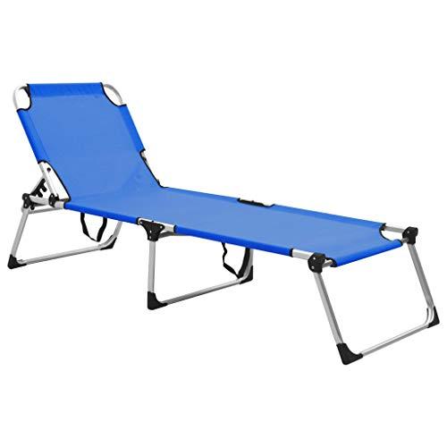 vidaXL Tumbona Plegable Alta para Mayores con Cojín Camas Colchón Muebles Asiento de Jardín Patio Doble Matrimonio Exterior Terraza Aluminio Azul
