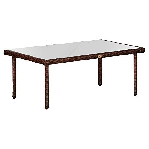 Outsunny Table Basse de Jardin Plateau Verre trempé 5 mm résine tressée Imitation rotin Chocolat