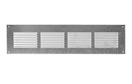 400x100mm Verzinkt Lüftungsgitter Abschlussgitter mit Insektenschutz Abluft Zuluft Metall Gitter