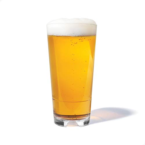 TOSSWARE RESERVE 20oz Stacking Cooler, SET OF 4, Tritan Dishwasher Safe & Heat Resistant Unbreakable Plastic Beer Glasses, Clear