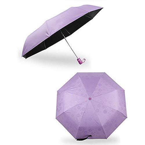 NJSDDB paraplu zonnebrandcrème 8 bot automatische water geven bloem paraplu Zwarte coating zonnescherm parasol Lady Princess paraguas voor vrouwen, Paars