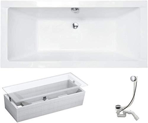 VBChome Badewanne 180x80 cm Acryl SET Wannenträger Siphon Wanne Rechteck Weiß Design Modern Styroporträger Ablaufgarnitur in Chrom Viega Simplex für 2 Personen
