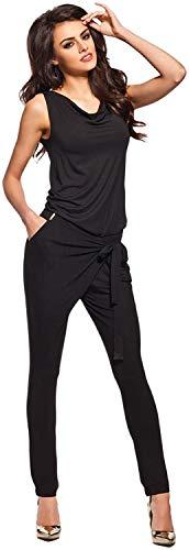 Lemoniade stylischer Jumpsuit ohne Ärmel mit elegantem Wasserfallkragen, schwarz, Gr. S