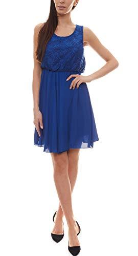 Melrose Spitzen-Kleid kurzes Damen Mini-Kleid mit ausgestelltem Saum Abend-Kleid Abiball-Kleid Royalblau, Größe:34