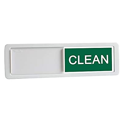 Premium Dishwasher Magnet Clean Dirty Sign, iRush Non-Scratching Backing / 3M Sticky Tab Adhesion, Sliding Indicator Works for Dishwashers, Reminder Tells Whether Dishes are Clean or Dirty - White