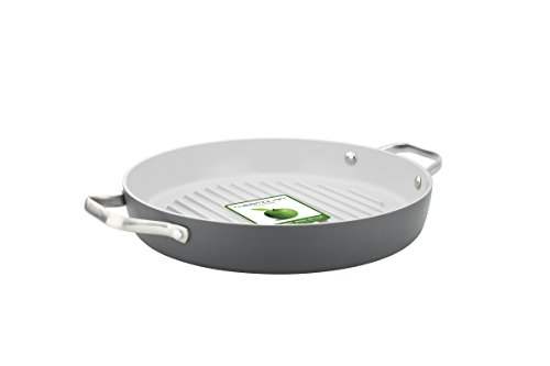 GreenPan Padova Open Round Grillpan, 11, Grey by The Cookware Company