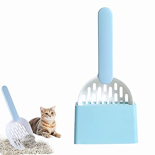 Nizirioo Paletta per lettiera per gatti, con supporto, manico ergonomico, lettiera per gatti, per la pulizia della lettiera del gatto (blu-bianco)