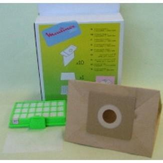 BOITE de 10Staubsaugerbeutel + 1Hepa-Filter Zelio Staubsauger Moulinex mo400601/4Q0