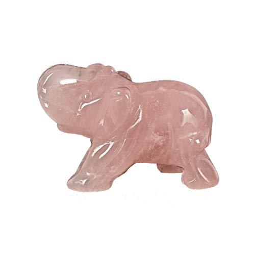 1,5 Zoll Handhandwerk Stein Elefant Figuren Geschnitzte Rosenquarz Mini Tiere Statue Dekor Kristall Mini Ornament