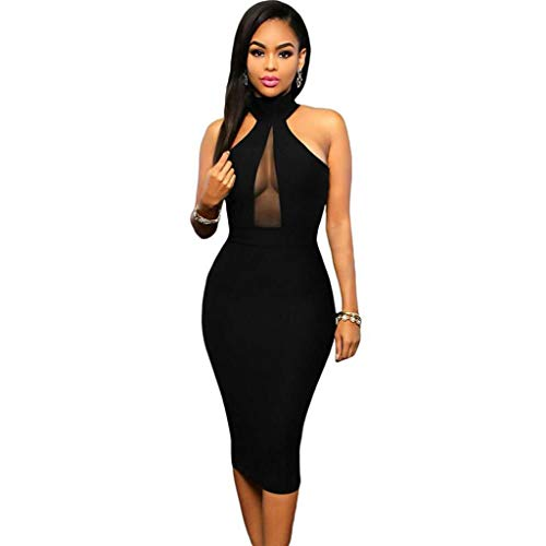 ZatRuiZE Vestidos de Fiesta Mujer Cortos Elegantes Negros Vestido de Cóctel Vintage Sexy Cocktail Dress