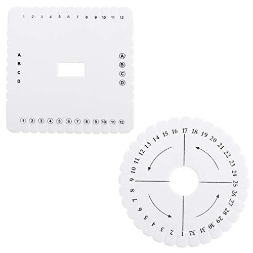 Heallly - 2 discos de Kumihimo cuadrados trenzados redondos con cuentas planas para manualidades, hilo fino, pulsera de cuentas y tejidos