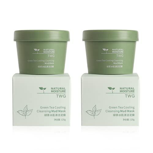 Green Tea Cleansing Mask,Película de Barro de Té Verde,Caolín Importado,Peel Off Máscara,Eliminación Profunda de Puntos Negros,Ajustar el Equilibrio de Agua y Aceite,Hidratar Piel,120g (2pcs)