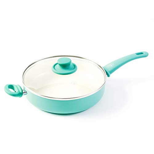 GreenLife Soft Grip Healthy Ceramic Nonstick, Saute Pan with Lid, 5QT, Turquoise