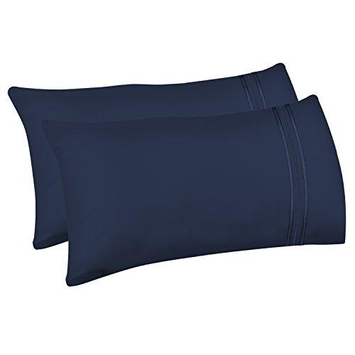 Lirex 2-Pack Fundas de Almohada, Tamaño 50 cm x 75 cm Fundas de Almohada de Microfibra Suave Cepillada, Transpirables sin Arrugas y Lavables a Máquina (Azul, Queen)